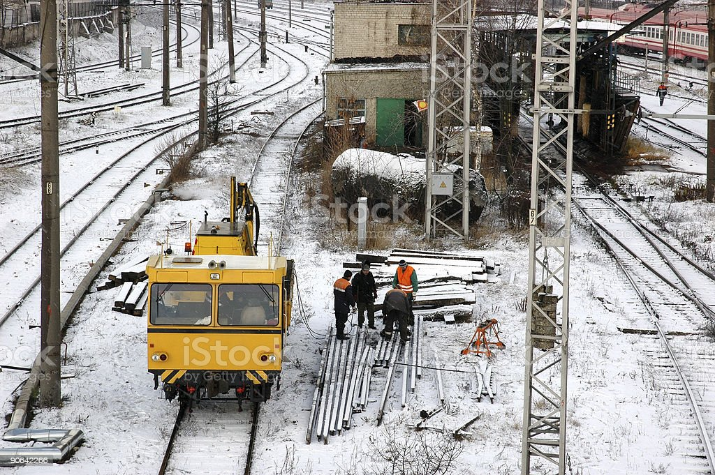 Railway Workers in Winter royalty-free stock photo