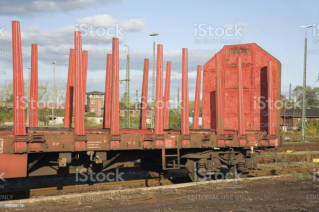 Railway yard with parked waggon stock photo