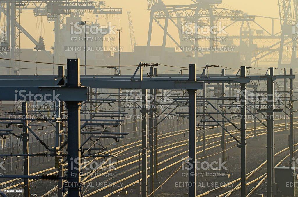 Railways cross harbor stock photo