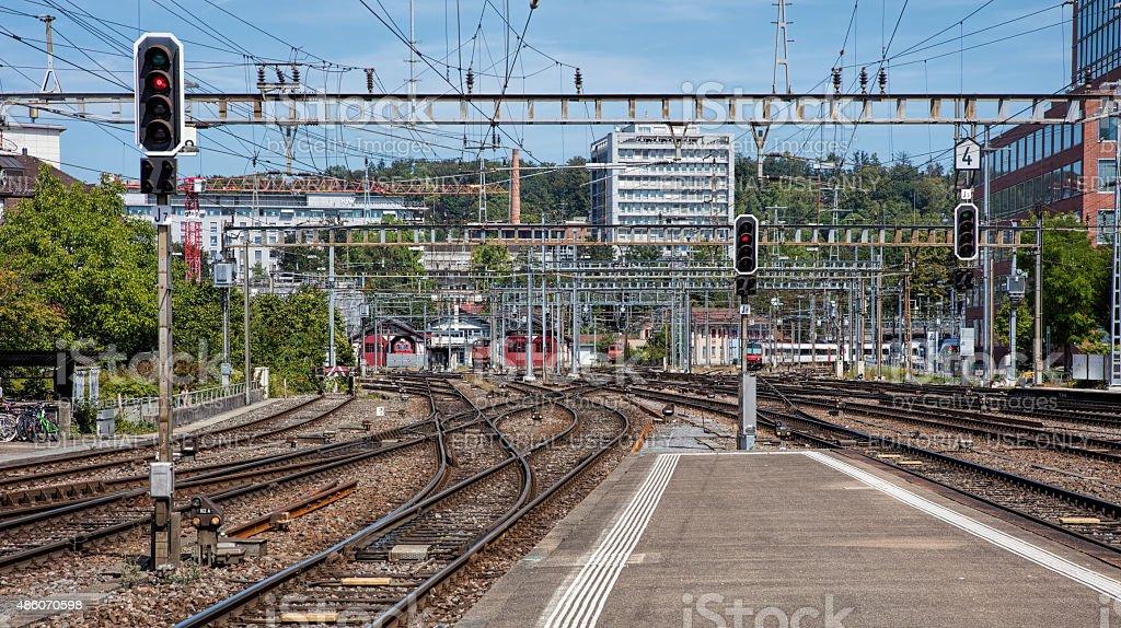 Railways of the Winterthur Main Station stock photo