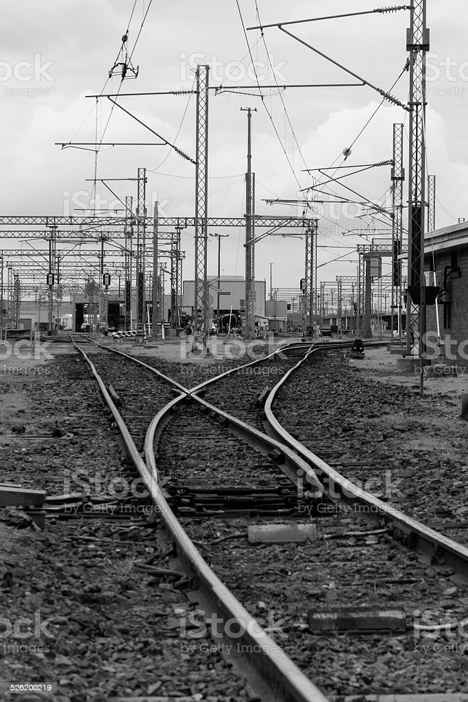 Railyards - Black & White stock photo