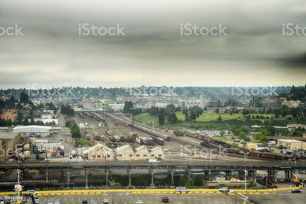 railyroad yards stock photo