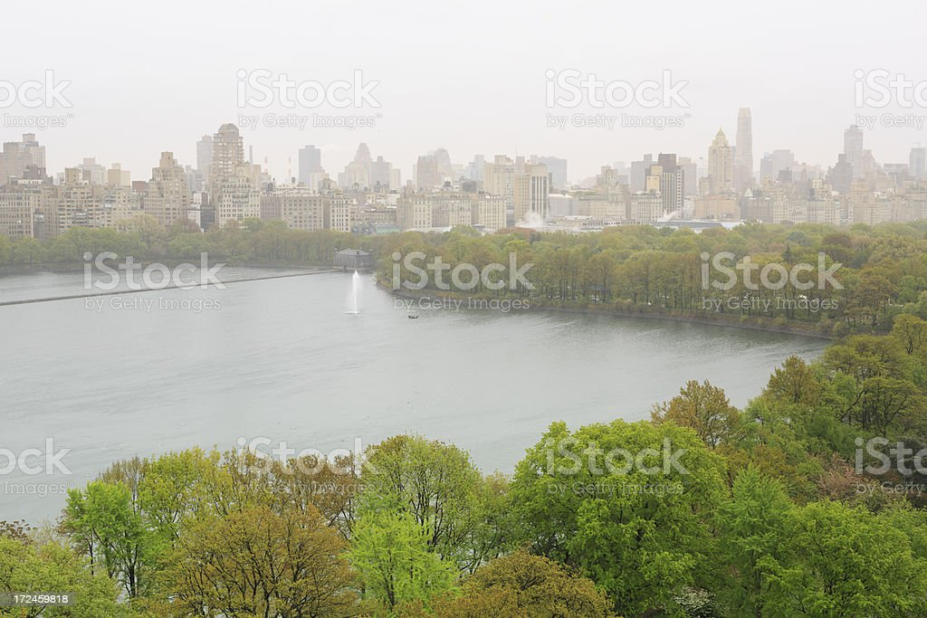 Rain and fog over Central Park royalty-free stock photo