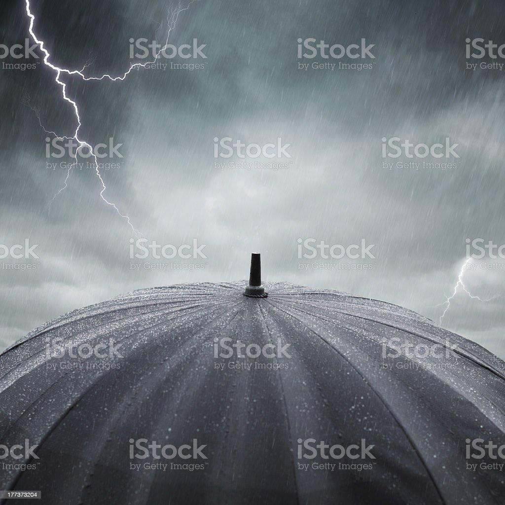 rain and thunderstorm stock photo