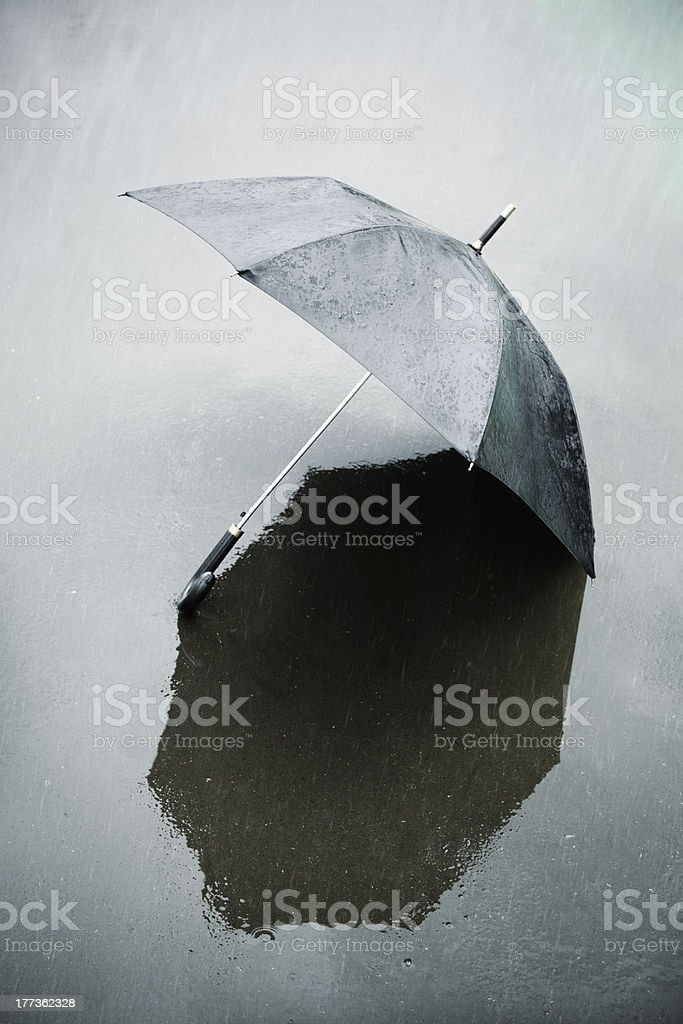 rain and wet umbrella stock photo