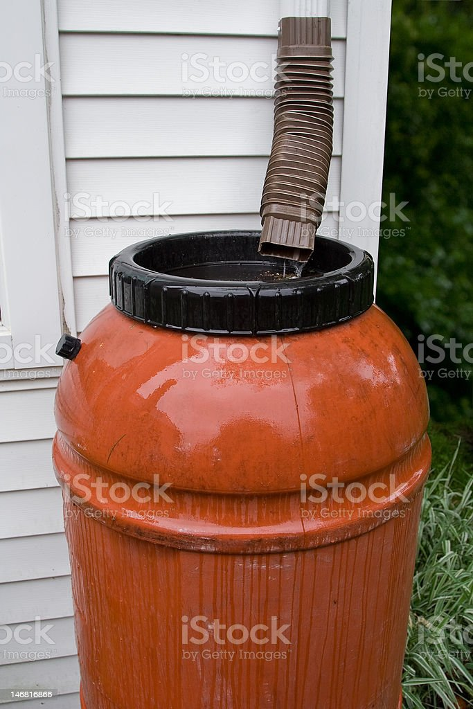 Rain Barrel collecting water during a storm stock photo