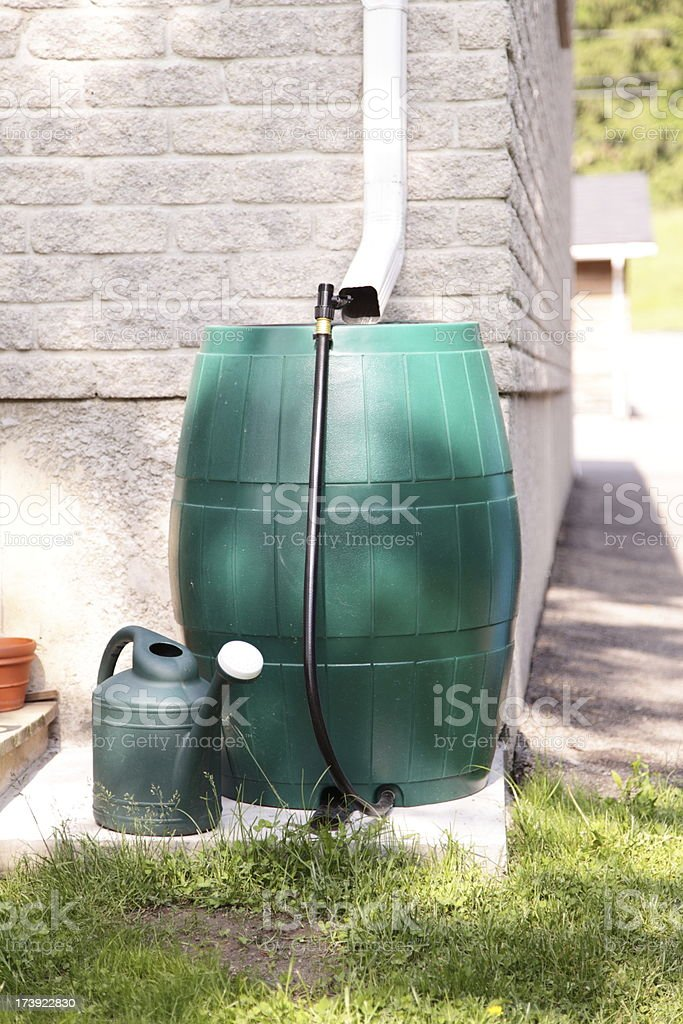 Rain Barrel Water Conservation stock photo