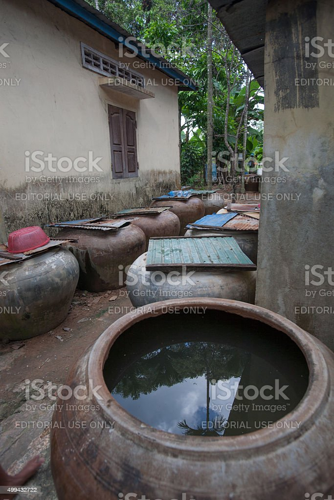 Rain barrels for collecting rain water in Cambodia stock photo