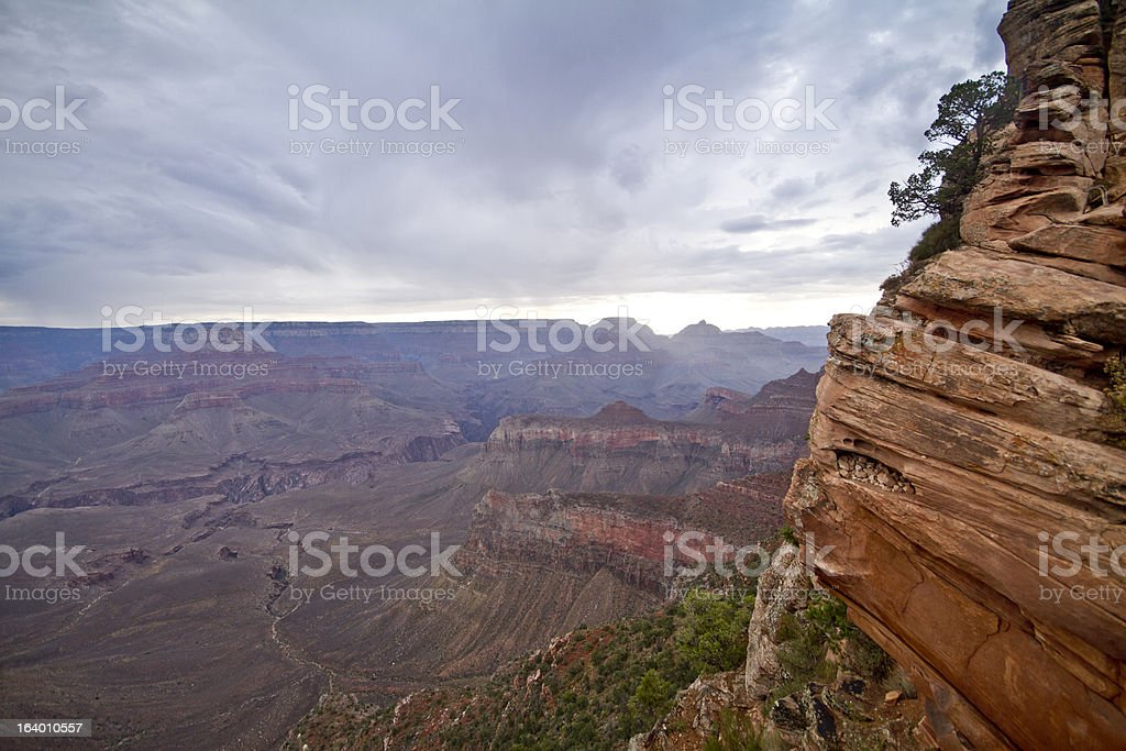 Rain clouds over the Grand Canyon at Dusk royalty-free stock photo