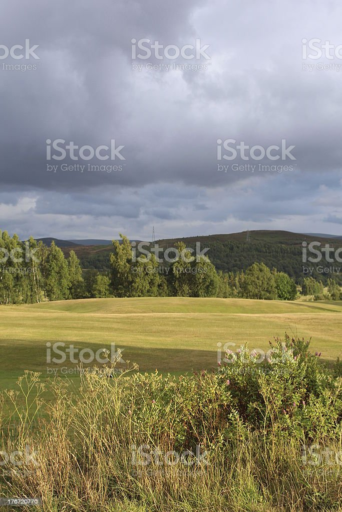 Rain clouds over the hills royalty-free stock photo