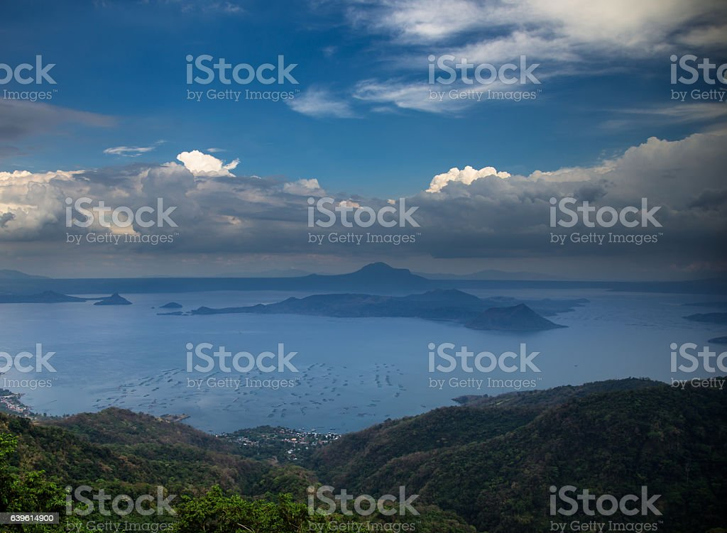 Rain Clouds Over Volcano in The Philippines stock photo