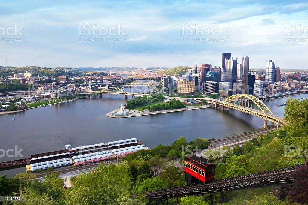 Rain Clouds Rolling In Over Pittsburgh Pennsylvania stock photo