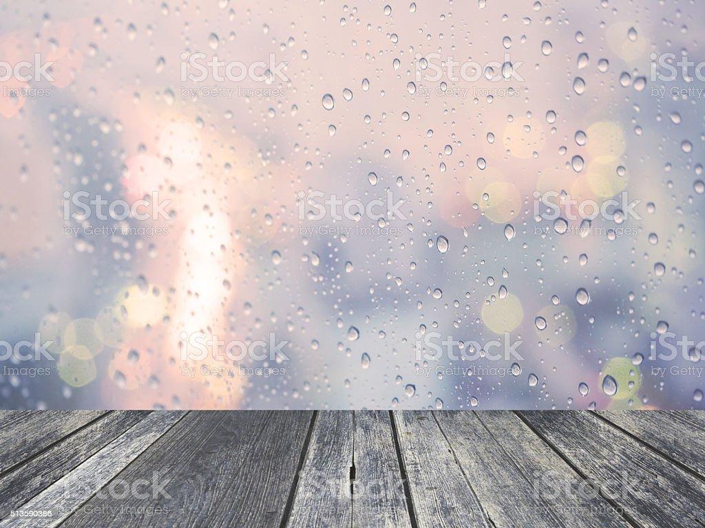 Rain drop with defocused light stock photo