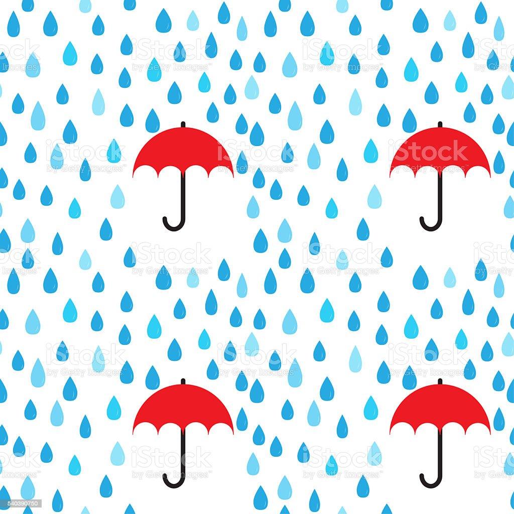 Rain drops and umbrella seamless pattern background; editable co stock photo