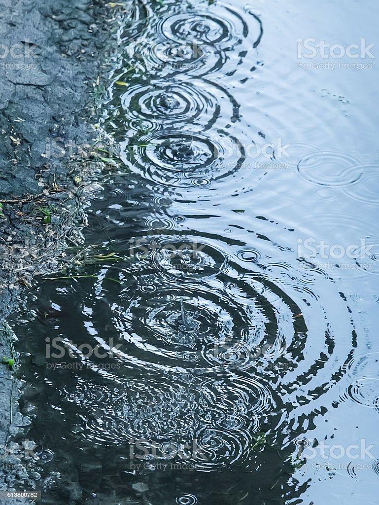 rain drops falling in pool stock photo