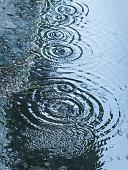 rain drops falling in pool