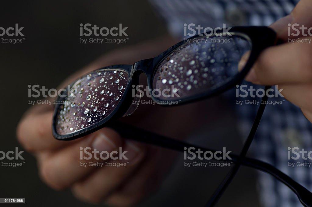 rain drops on the glasses 4. stock photo