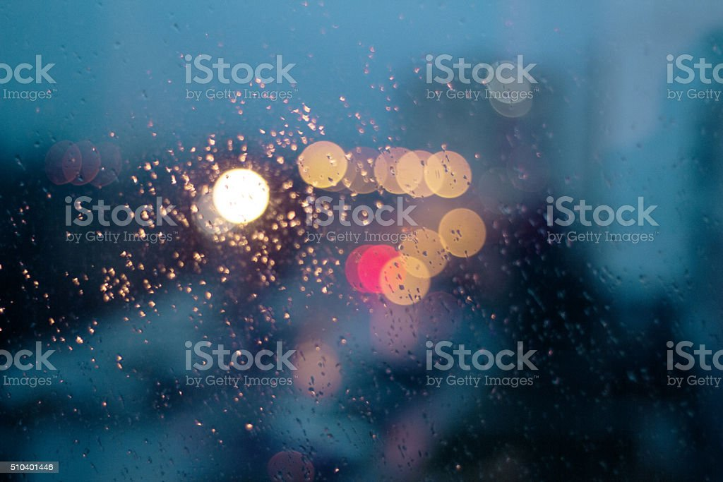 rain drops on the window stock photo
