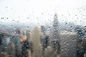 Rain Drops Over View of NYC