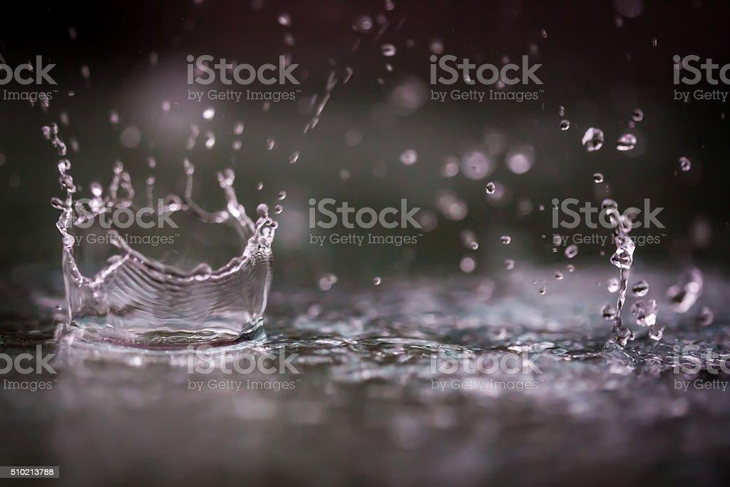 Rain drops splashing into a puddle of water. stock photo