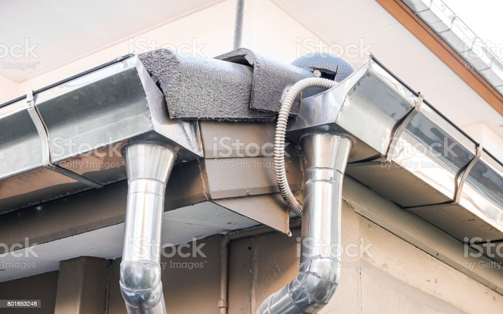 Rain gutter system on roof of House - Can use for illustration product