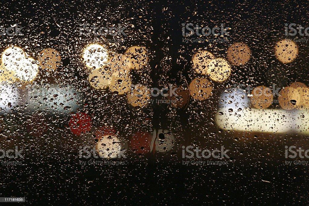 Rain in autumn. wet night windows - abstract background stock photo