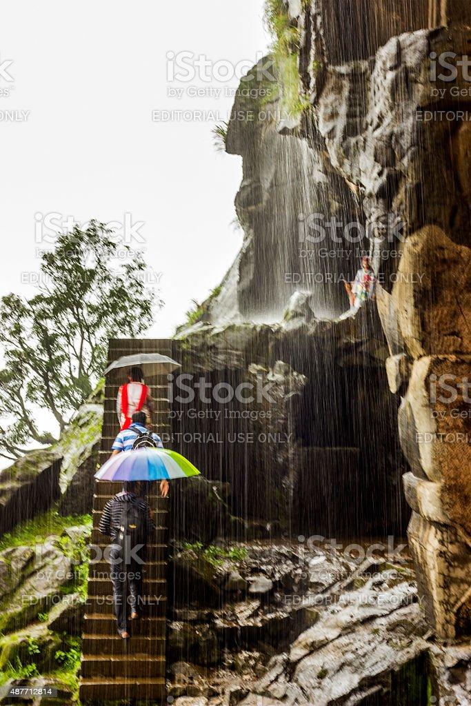 Rain in Lonavala, Bhaja caves, India stock photo