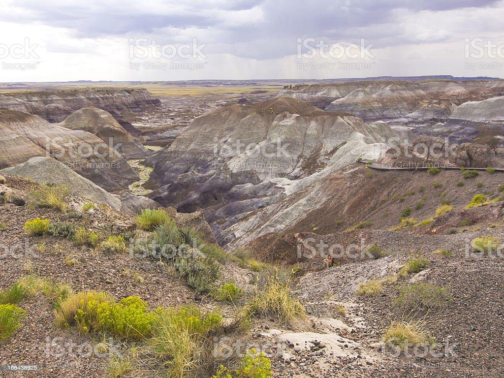 Rain in  Painted desert stock photo