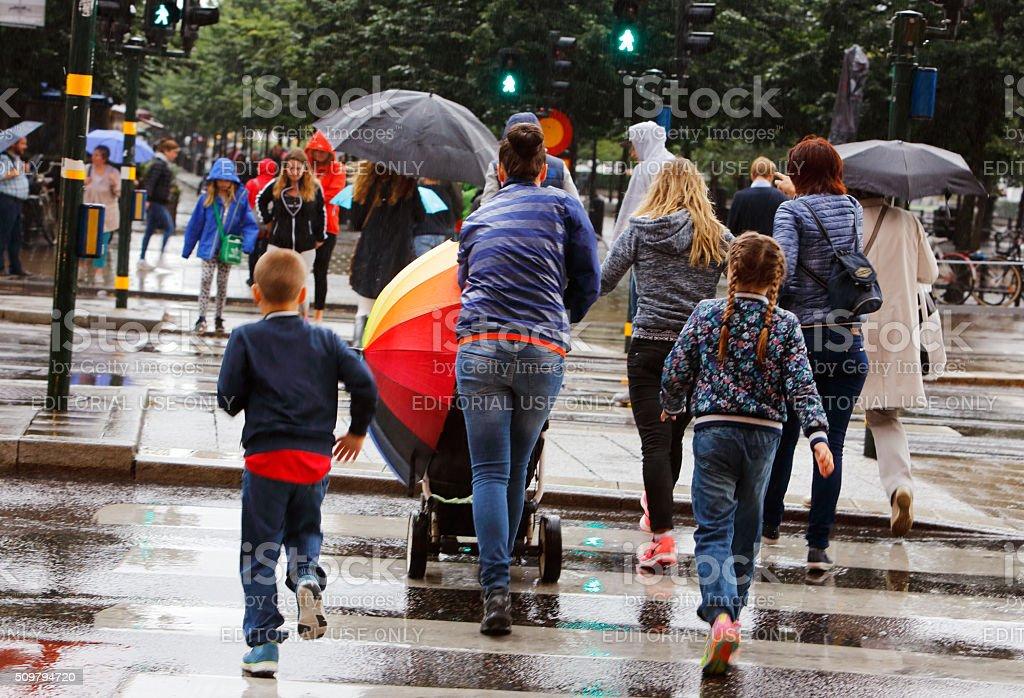 Rain in Stockholm stock photo