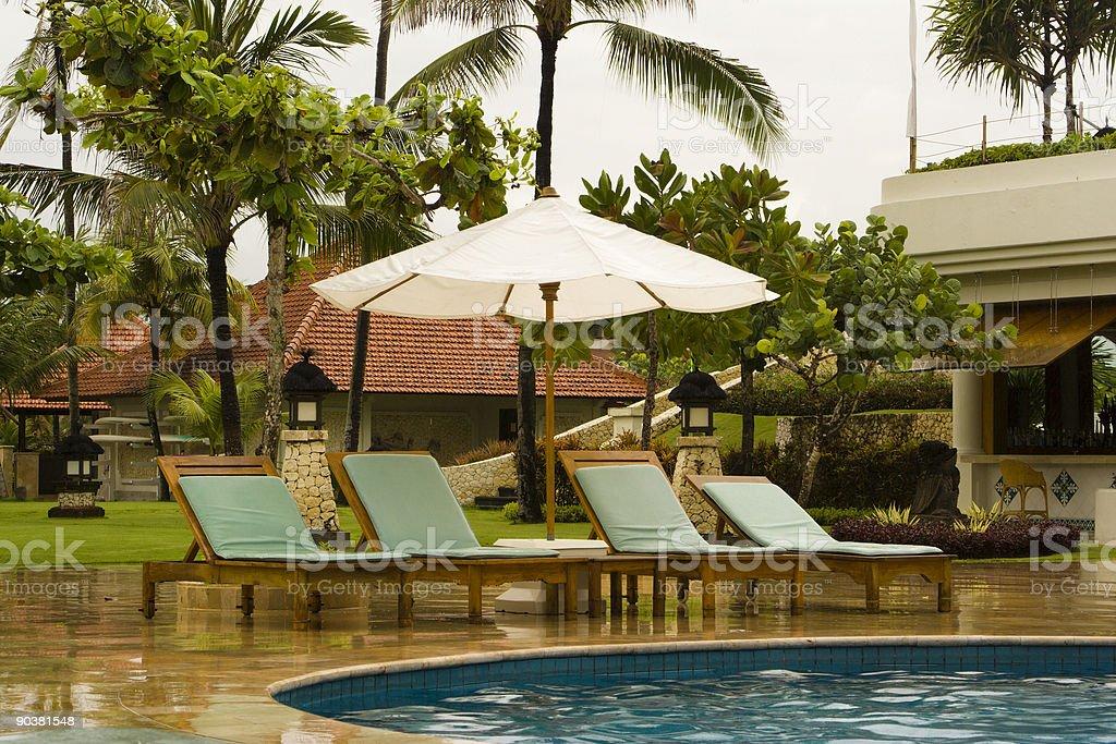 Rain in tropic resort royalty-free stock photo