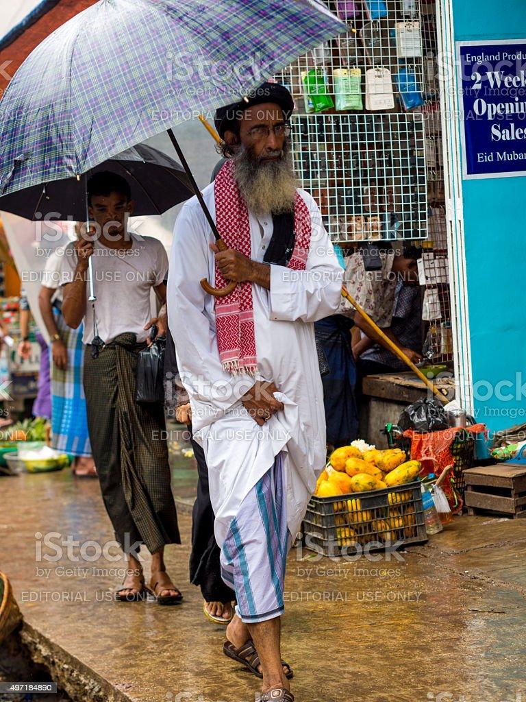 Rain in Yangon, Myanmar stock photo