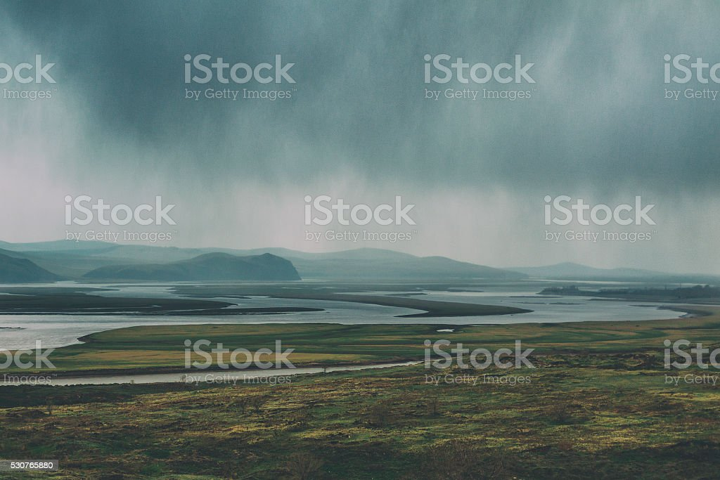 Rain is in the river valley stock photo