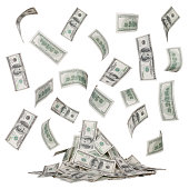 rain of dollar bills and a heap of money isolated