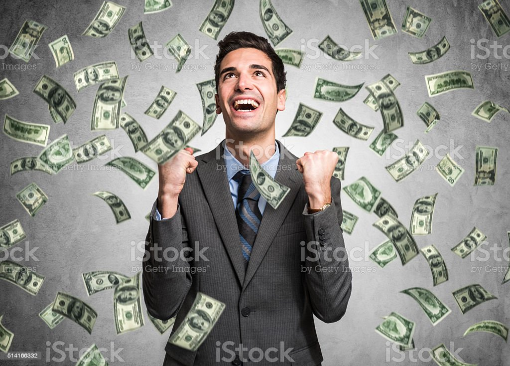 Rain of money stock photo