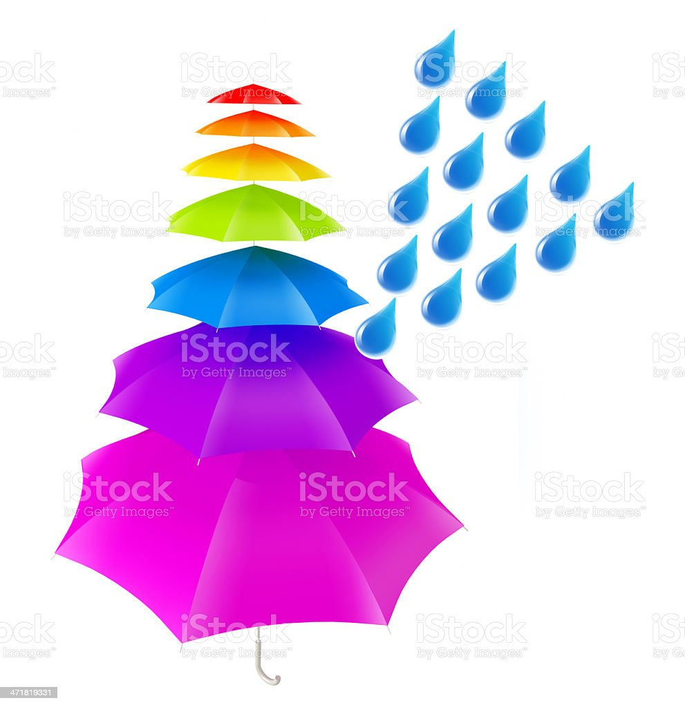 rain on colorful umbrella royalty-free stock photo