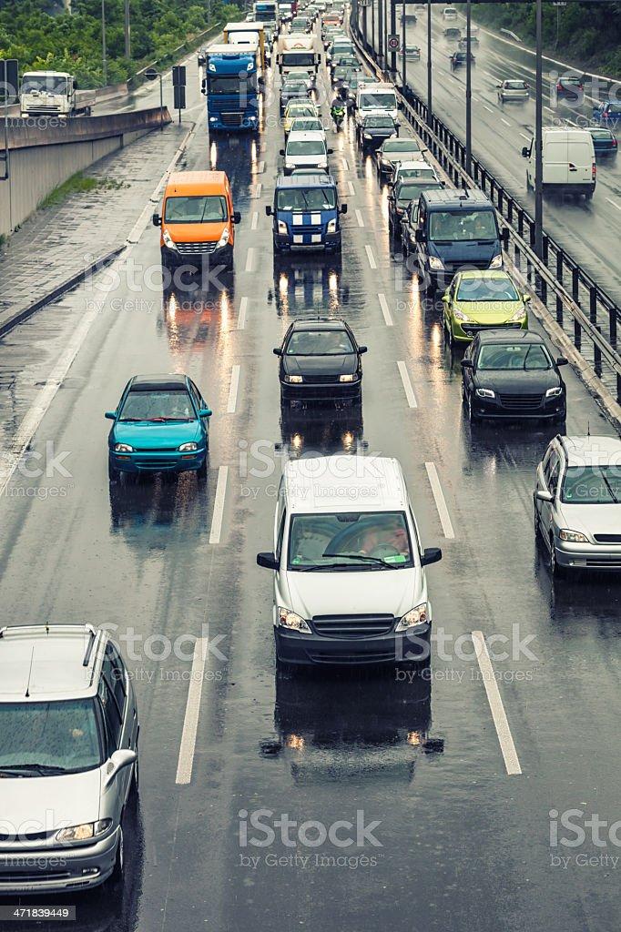 Rain on german motorway royalty-free stock photo