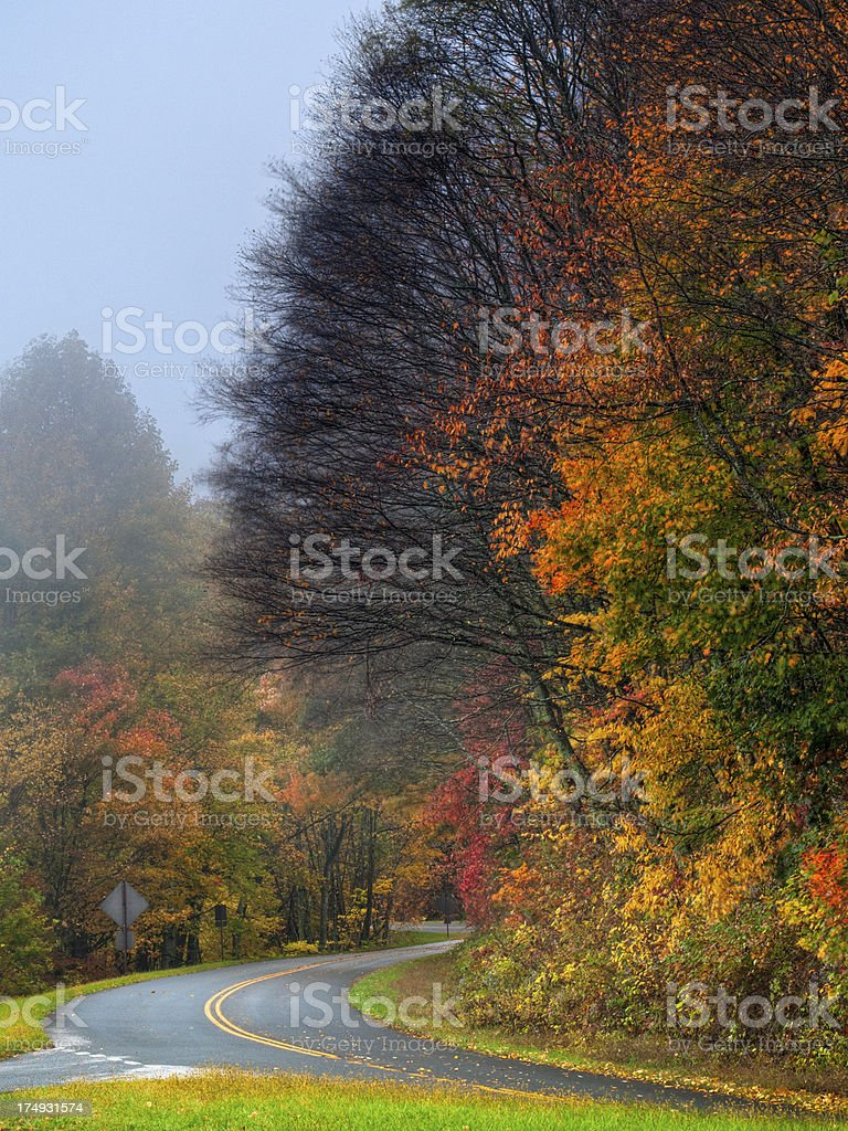 Rain on the Blue Ridge Parkway, North Carolina, USA royalty-free stock photo
