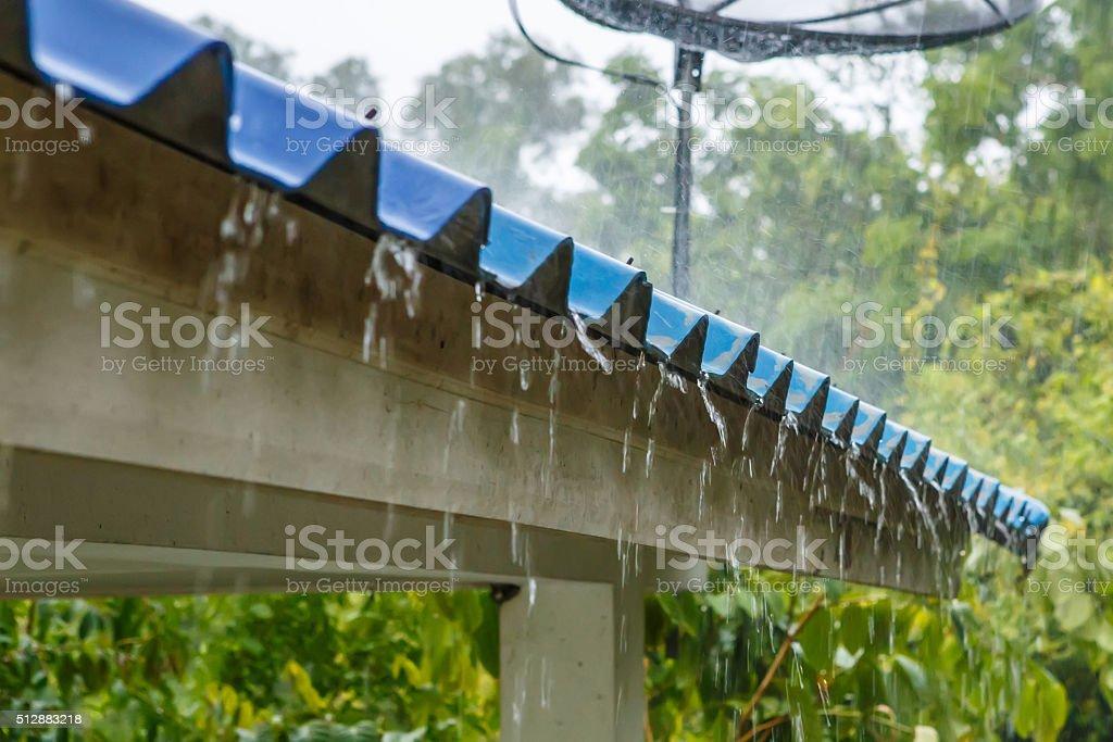 Rain on the roof stock photo