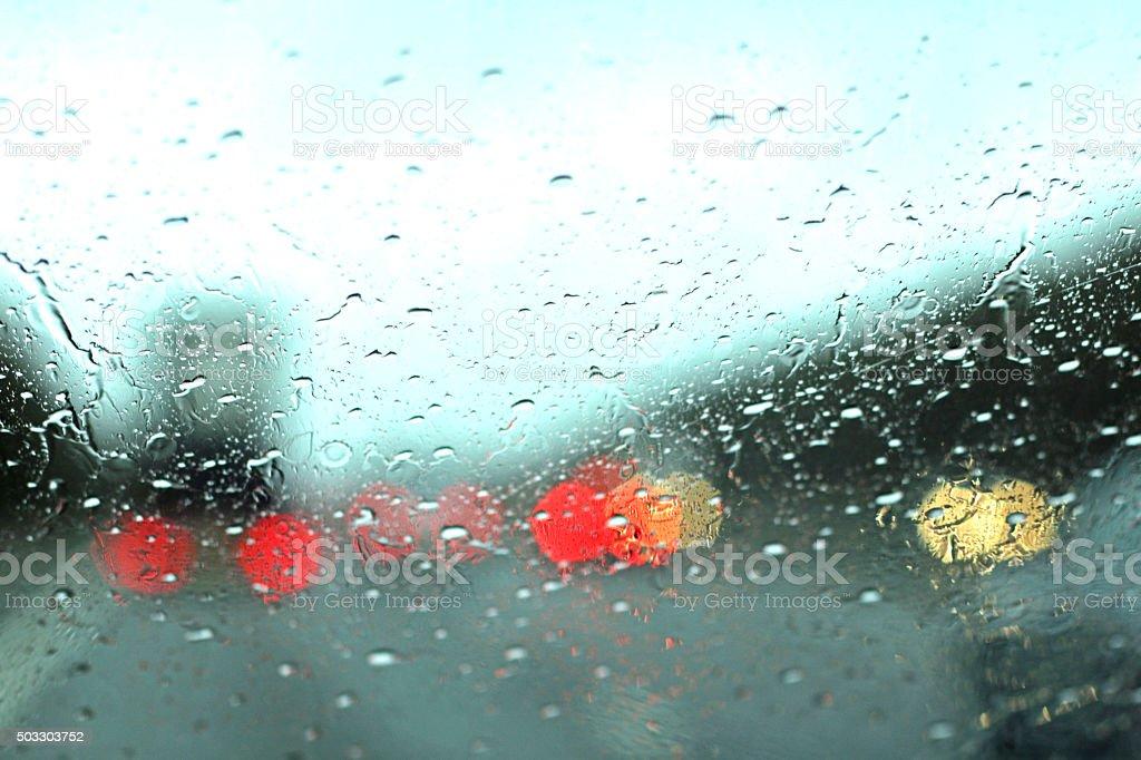 Rain on the Windscreen stock photo