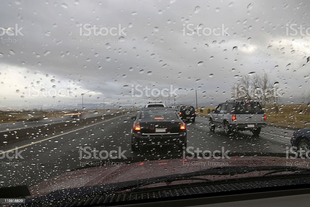Rain on the Windshield royalty-free stock photo
