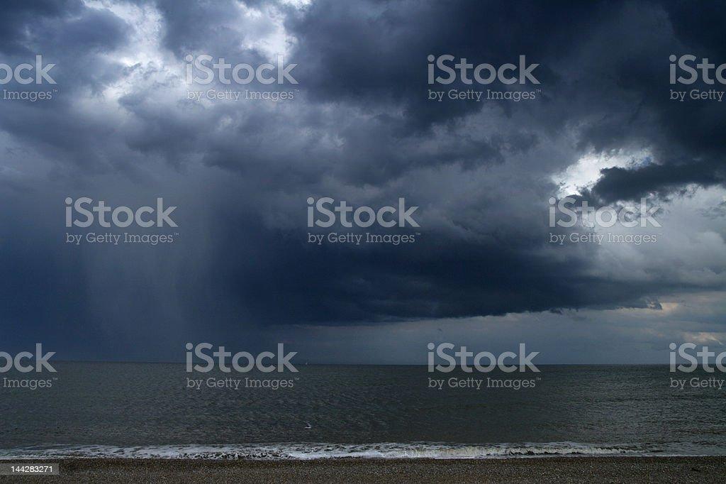 rain over sea stock photo