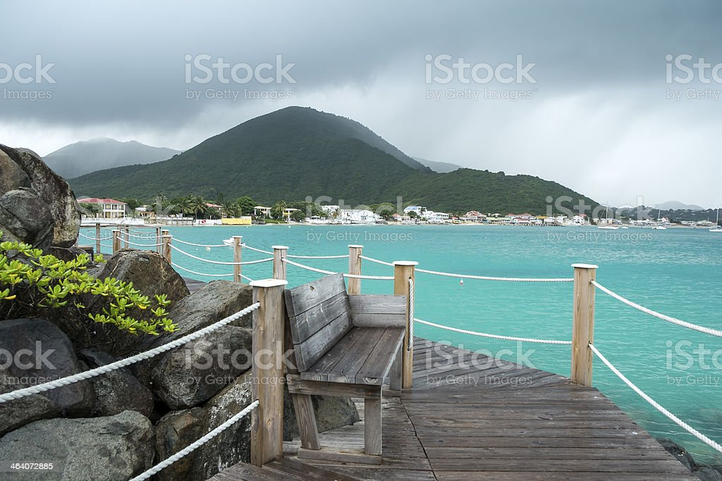 Rain Over the Caribbean Sea stock photo