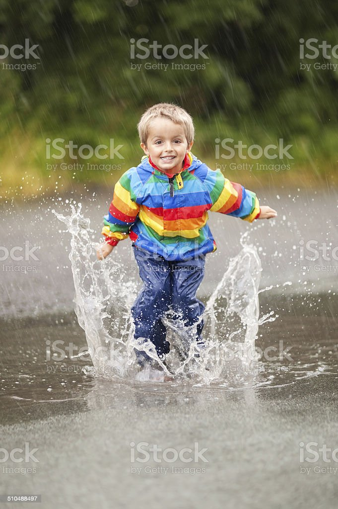 Rain puddles stock photo