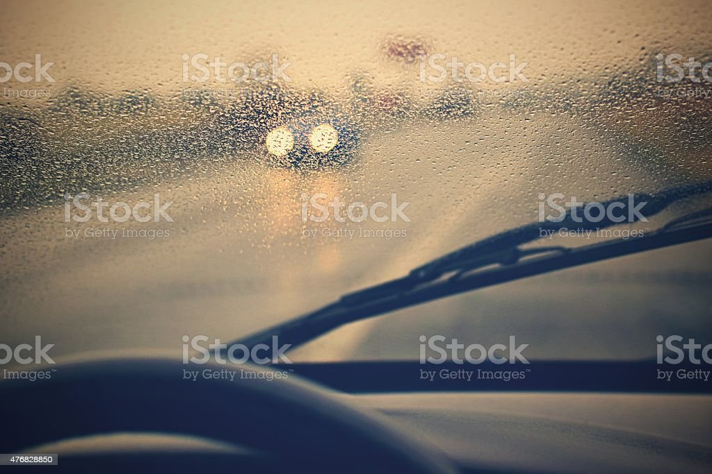 Rain road stock photo