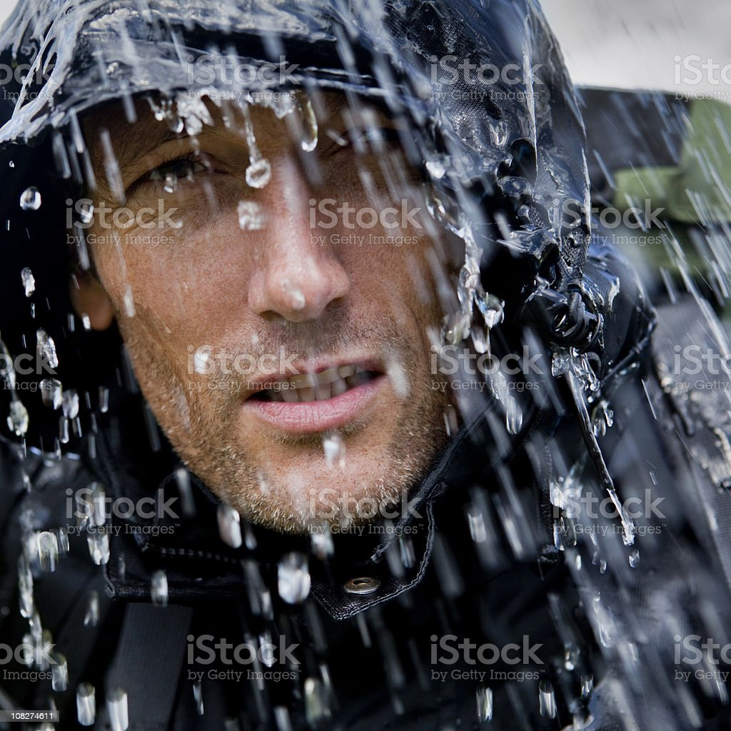 Rain Soaked Hiking Adventurer royalty-free stock photo