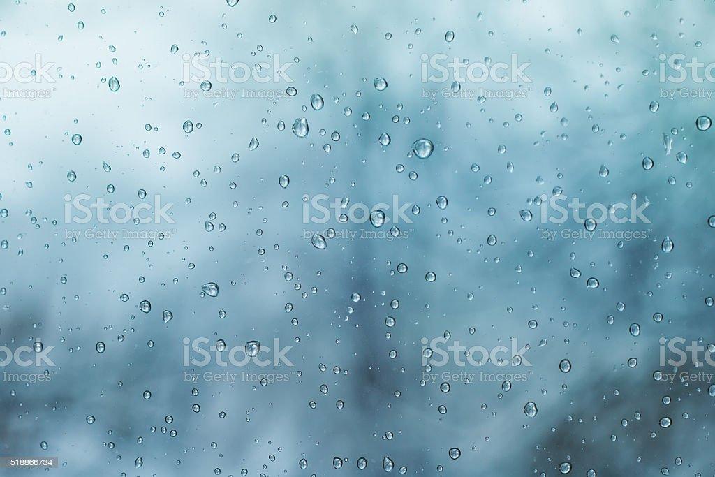 rain spring drops on the window stock photo