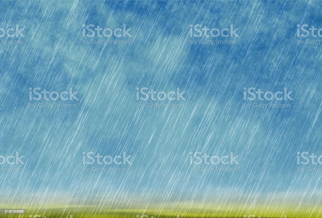 rain storm backgrounds in cloudy weather with green grass stock photo