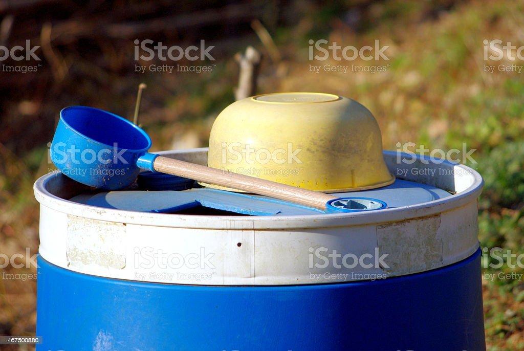 Rain tank and dipper stock photo