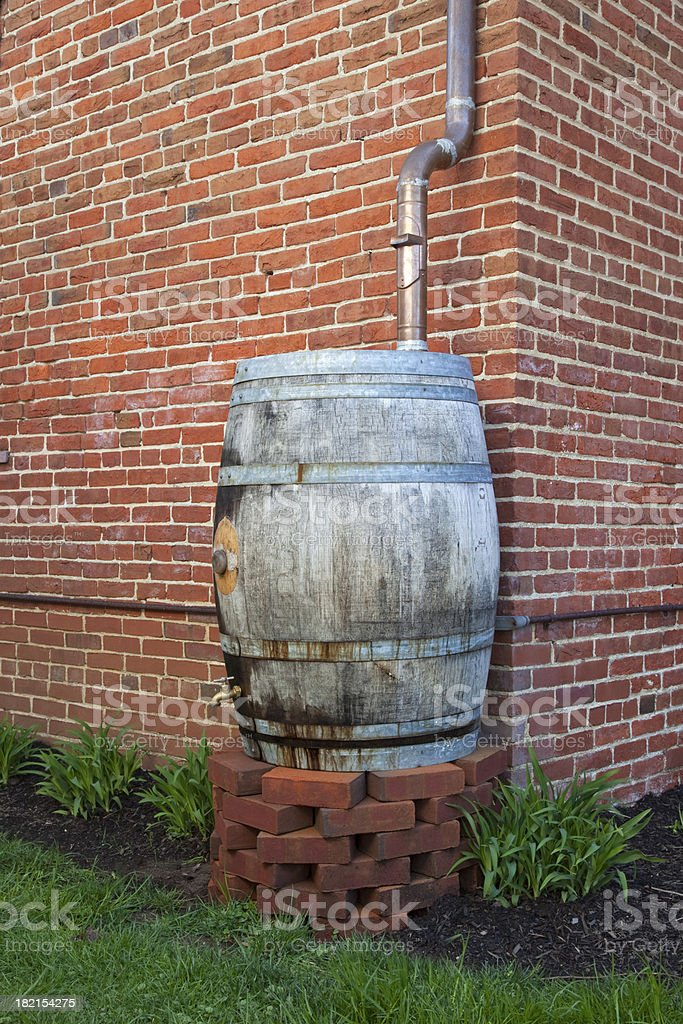 Rain Water Barrel for Conservation stock photo