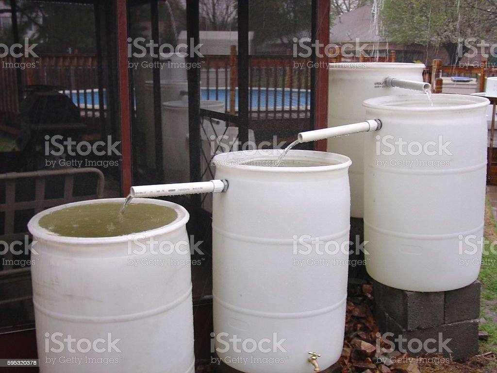 Rain water collection stock photo